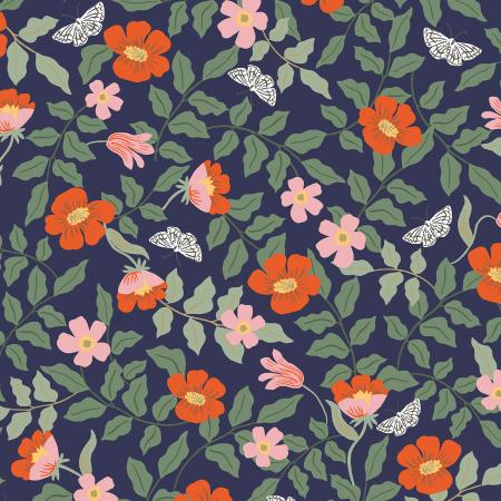 Cotton+Steel Fabrics - Rifel Paper Co. - Strawberry Fields - Primrose - Navy
