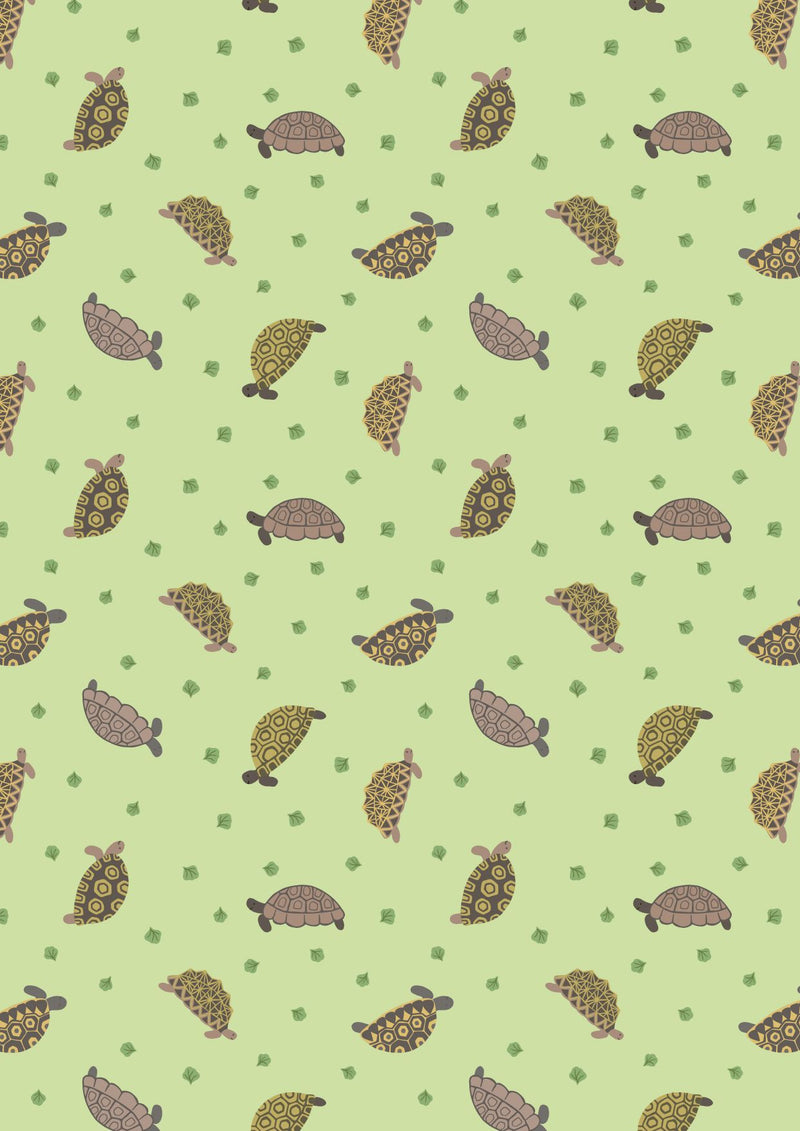 LEWIS & IRENE FABRICS - SMALL THINGS PETS - TORTOISES ON LIGHT GREEN