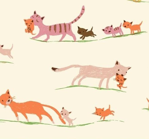 Windham Fabrics - Heather Ross - 20th Anniversary -Morning Cats - Cream