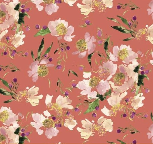 Windham Fabrics - Wildflower - Clair De Loon - Coral