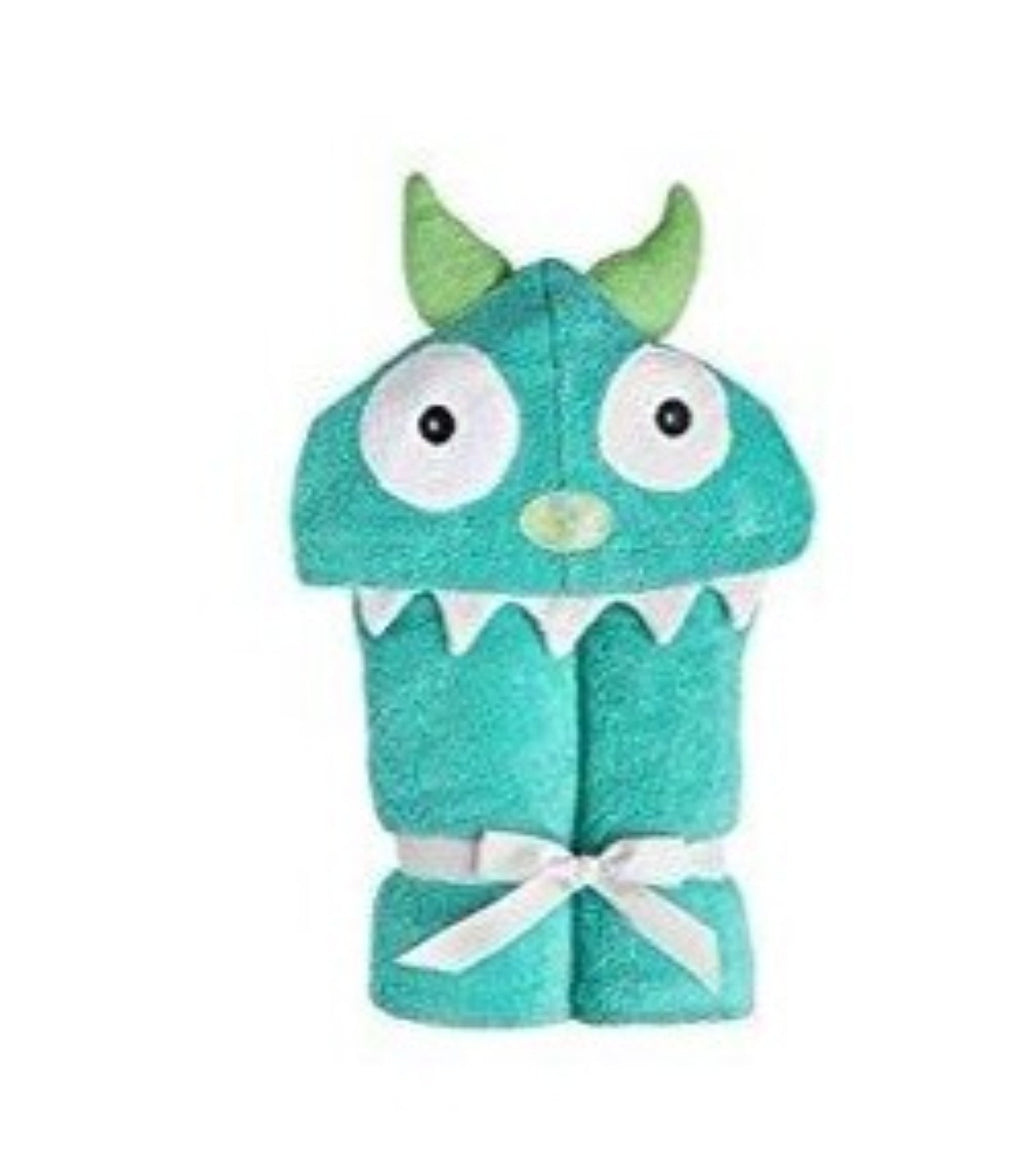 Yikes Twins - Child - Monster Turquoise  Hooded Towels
