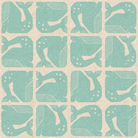 Cotton + Steel Fabrics -   By The Seaside - Grumpy Whale - Aqua Canvas