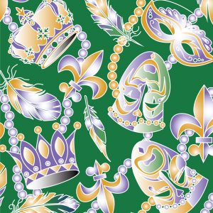 FABRIC FINDERS FABRICS -MARDI GRAS MASK  - GREEN