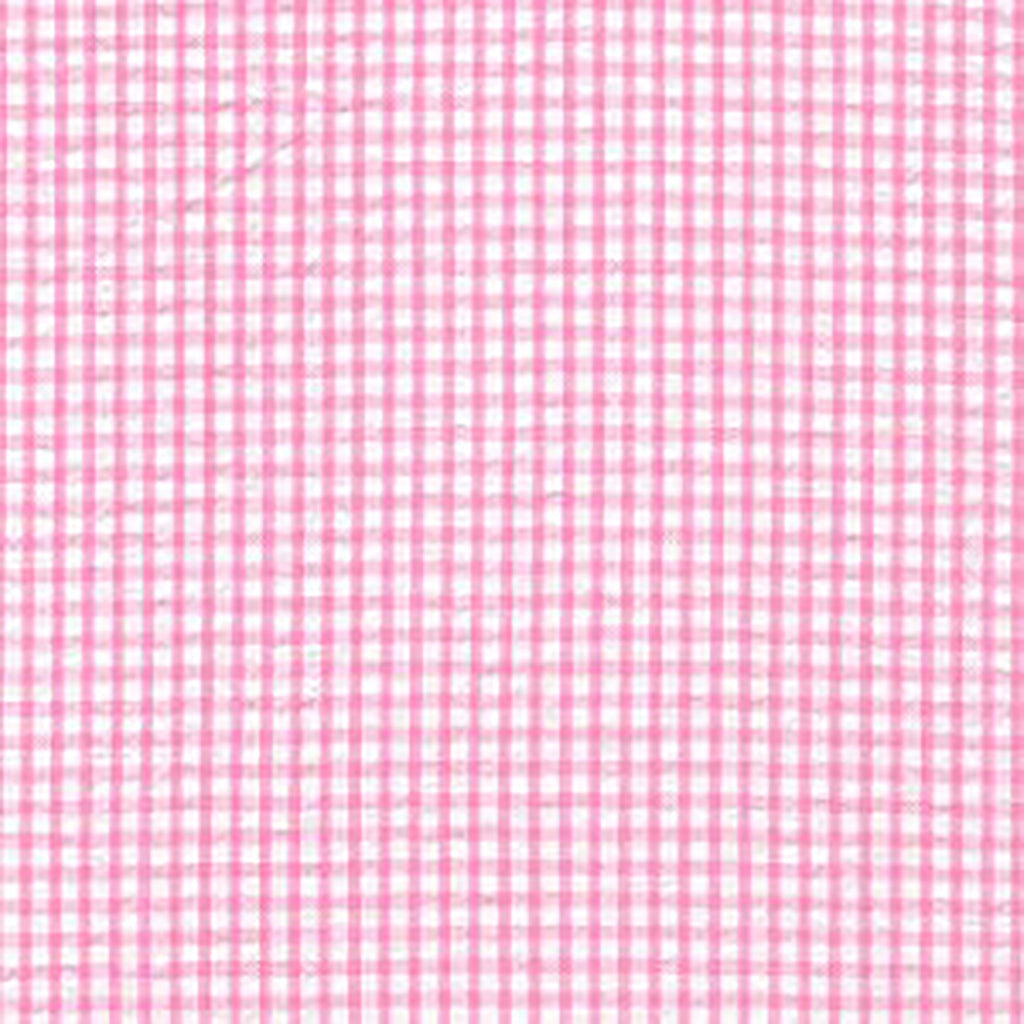 FABRIC FINDERS FABRICS - CHECKED SEERSUCKER - BUBBLEGUM