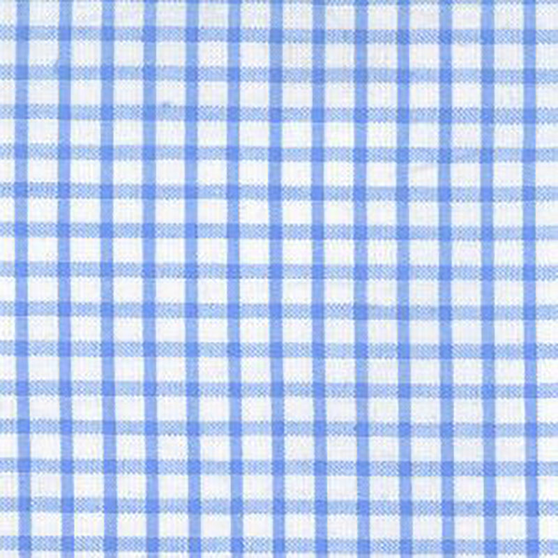 FABRIC FINDERS FABRICS - WINDOWPANE CHECK SEERSUCKER - BLUE
