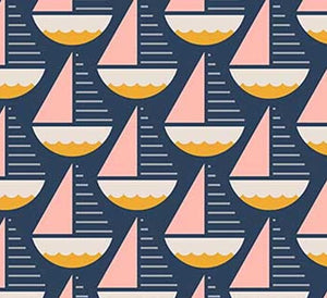 Figo Fabrics - Sunkissed - Sailboats (Pink Yellow) On Navy