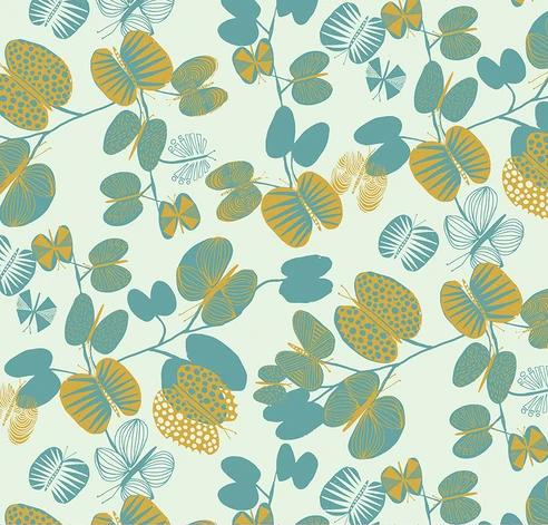FREESPIRIT FABRICS - BUTTERFLY LEAVES - CERULEAN - BOOKHOU FOR ANNA MARIA'S CONSERVATORY