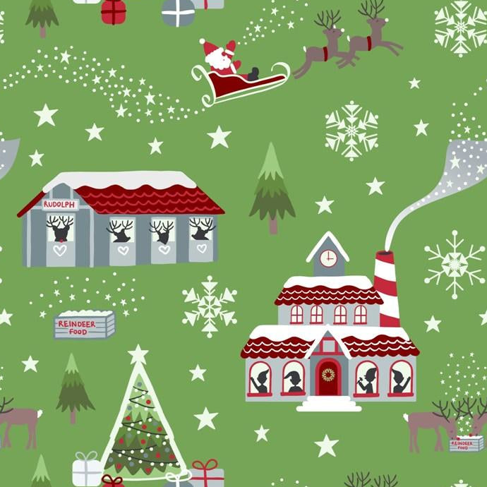 Christmas Cardinals with Snowflakes on Green 100/% cotton fabric by the half yard