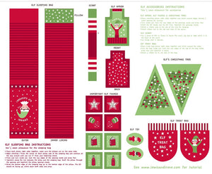 Lewis & Irene Fabrics - Elf Accessories Red / Green (Panel)