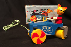 Vintage Japan Wooden Cat On Road Roller Pull Toy