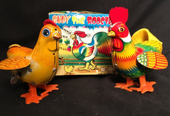 Vintage Wind Up Rudy the Rooster and Hen