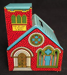 Vintage Tin J. Chein & Co. God Giveth Day By Day Penny Church Still Bank