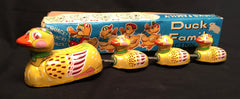 Vintage Japan Tin Friction Ducks Family