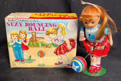 Vintage TPS Japan Wind Up Suzy Bouncing Ball