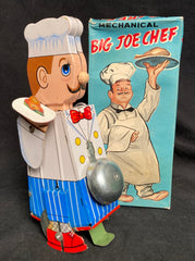 Vintage Yone Japan Tin Wind Up Big Chef Joe