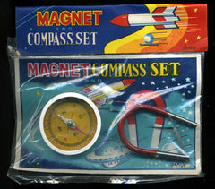 1950's Japan Tin Space Magnet And Compass Set