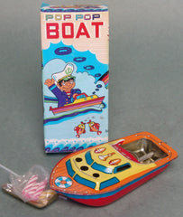 Vintage China Tin Pop Pop Boat