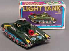 Vintage Tin Friction Chinese Red Army Tank