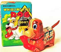 Vintage Yanoman Japan Tin Wind Up Dog With Whirling Tail With Boot