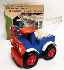 Vintage TPS Japan Battery Operated Ball Blowing Dump Truck