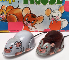 Set Of Two Vintage Japan Tin Friction  Mice