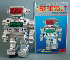 Vintage Japan Battery Operated New Silver Astronaut