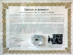 Apollo 13 Flown Heat Shield Fragment with COA
