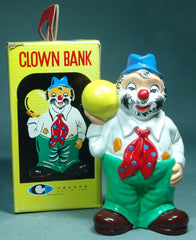 Vintage Japan Ceramic Clown Bank