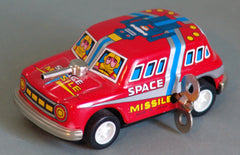 Tin Windup Red Missile Car