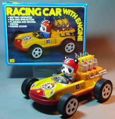 Vintage Chinese Battery Operated Panda In Racing Car