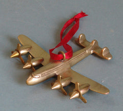 Brass Airplane With Moving Propellers