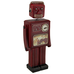 Red Vintage Finish Retro Bobble Head Robot Coin Bank
