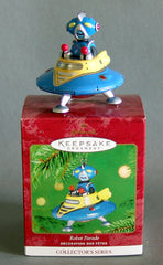 Tin Robot Parade Flying Saucer Christmas Ornament