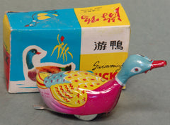 Vintage Tin Wind Up Swimming Duck