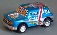 Tin Wind Up Blue Missile Car