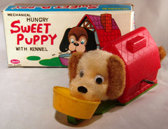 Japan Vintage Wind Up Sweet Puppy With Kennel