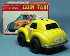 Vintage DAIYA Japan Tin Battery Operated Coin Taxi