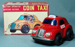 Vintage Daiya Japan Tin Battery Operated Red Coin Taxi