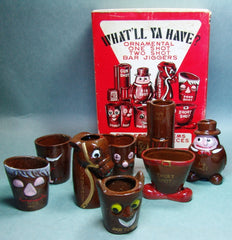 Kitschy 1950's Japan Bar Shot Glass Set