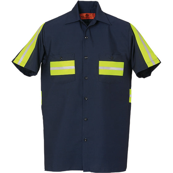 Reed Flexions™ Enhanced Visibility Short Sleeve Shirt Navy with Yellow 100% COTTON 581WM