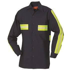Reed Flexions™ Enhanced Visibility Long Sleeve Shirt Navy with Yellow 65/35 6221WM