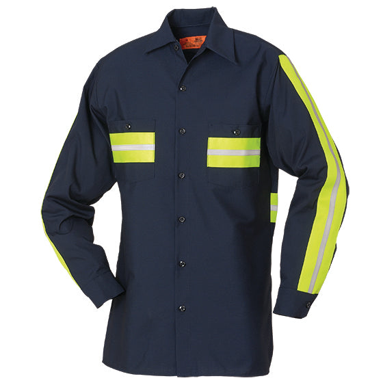 Reed Flexions™ Enhanced Visibility Long Sleeve Shirt Navy with Yellow 100% COTTON 5881WM