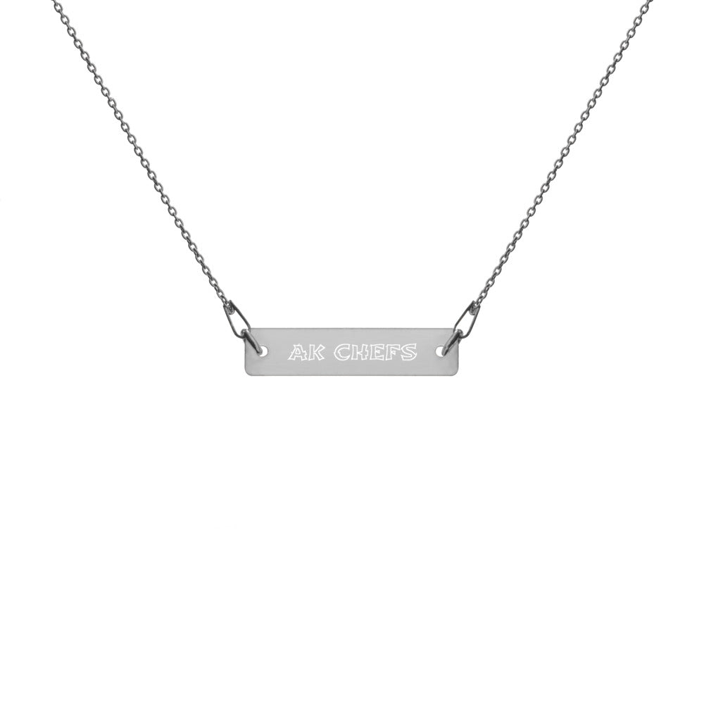 AK ENGRAVED SILVER BAR CHAIN NECKLACE