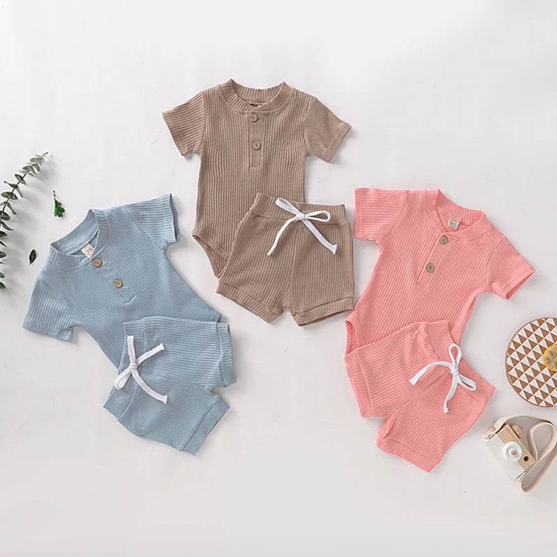 Chunky Ribbed Button Romper & Shorts Set