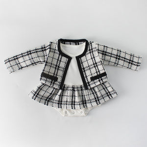 Baby Girl Tweed Romper & Jacket Set