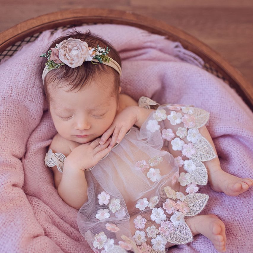 Floral Embroidered Dress, Newborn Photography Props