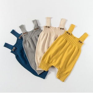 Rib Knit Button Overalls