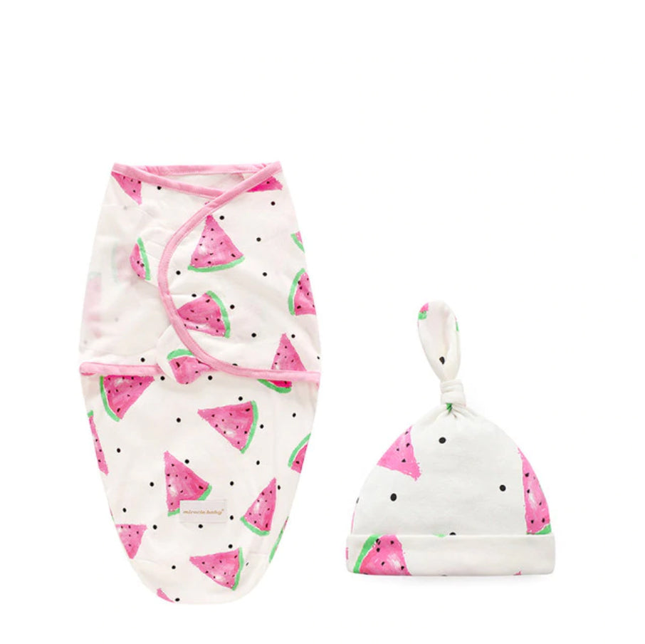 Baby Cotton Swaddle Pouch & Hat Set
