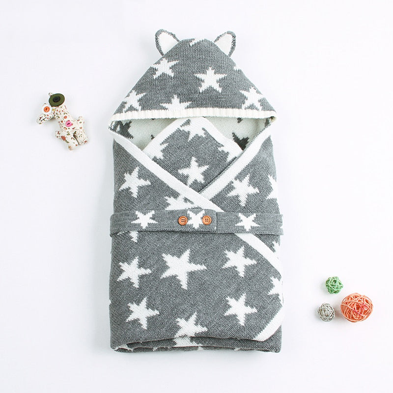 Knitted Baby Star Sleep Sack and Blanket