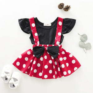 Red Polka Dot Straps Skirt & Top Set